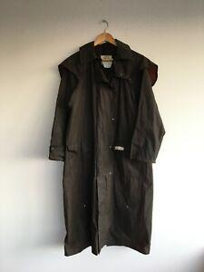 Vintage Oilskin Port Phillip Outback Coat 100% Cotton Long Size S Naval Drover
