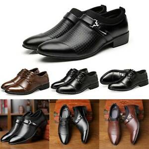 US Men Leather Dress Shoes Office Smart Work Formal Wedding Business Shoes Size