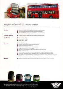Bus Manufacturer Specification Sheet ~ Wrightbus Gemini 2DL: Arriva London: 2010