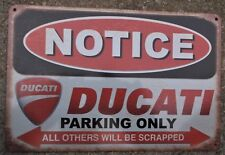 DUCATI MOTORCYCLE PARKING METAL TIN SIGNS vintage cafe pub bar garage decor chic