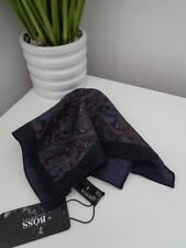 Hugo Boss Navy Paisley 100 Wool Pocket Square Handkerchief Hankie