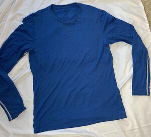 Mens Icebreaker 100% Merino blue W/ White Seams long sleeve shirt  Size Small
