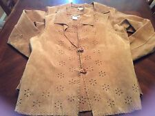 Coldwater Creek Brown Leather Jacket  And Vest Size Small Floral Eyelet Cutouts