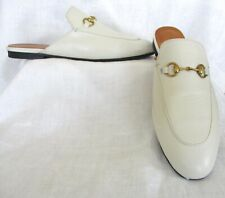 Gucci Princetown White Leather Mule Slide Shoes Size 42