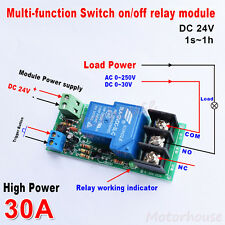 DC 24V Trigger Delay turn off / on Switch Timer Relay Module High Power 30A PLC