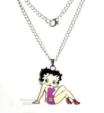 CO03// BIJOU COLLIER FANTAISIE / PENDENTIF EMAILLE FILLE ASSISE / MODE FASHION