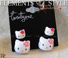 Cute Little Hello Kitty Pair of 2 Mummy n Baby Puffy Stud Earrings