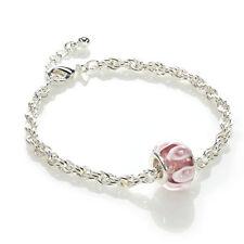 New Avon Treasure/Charm Bracelet and Pink Candy Stripe Bead - Gift? Free P&P