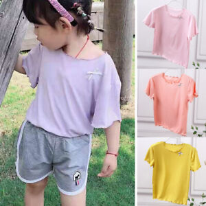 Kids Girl Short Sleeve T Shirt Summer Printed Plain Casual Loose Blouse Tee Tops