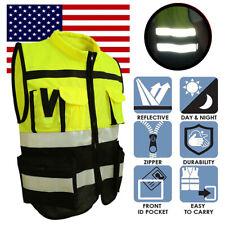 Us Hi Vis Safety Vest Reflective Jacket Security Waistcoat With Zipper Pocket