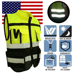 US Hi-Vis Safety Vest Reflective Jacket Security Waistcoat With Zipper Pocket