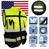 US Hi-Vis Safety Vest Reflective Jacket Security Waistcoat With Zipper Pocket