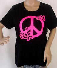 """T -Shirt """" Peace Flowers """" Neon Pink - Größe S M L XL XXL auch als Damen Girli"""