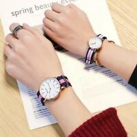 version of the simple  canvas with watch ultra-thin striped strap couple watches