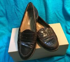 677f4c842 GUCCI Genuine Crocodile/Alligator Brown Penny Loafers Flat Shoes 9.5B 40  Italy