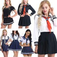 Women Japanese School Girl Cosplay Sailor Uniform Outfit Set Costume Fancy Dress