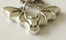 BEAUTIFUL SILVER FLYING BAT  CLIP ON CHARM FOR BRACELETS - SILVER ALLOY - NEW