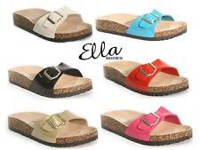 Ladies Faux Leather Sandals Wedge Heels Slider Walking Summer Beach Shoes Size