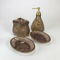 Vintage smoky lucite bathroom vanity set