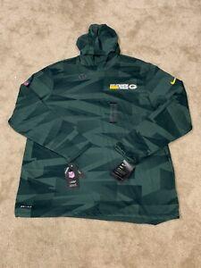 Mens XL Green Bag Packers Nike Dri-Fit Long Sleeve Performance Hooded Tee NWT