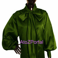 Women Olive Green Satin Vintage style long sleeve Bow Blouse Top High Neck Shirt