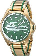 NEW Lacoste 2010962 Men's Capbreton Gold Tone / Green Watch 46MM MSRP $295