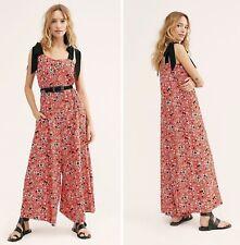Free People Jumpsuit Floral Shoulder Adjustable Ties Red Black Cecilia L NEW