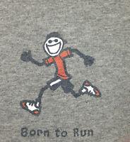 Life is Good T Shirt Mens XL *Born to Run* Running Gray Long Sleeve Graphic