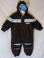 Baby Boys Mini Mode Brown Blue Fleece Lined Padded Rain Snowsuit Age 9-12 Months
