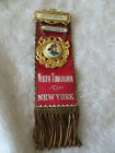 Antique Fireman Parade Ribbon N. Tonawanda N.Y. Firemens Badge Pinback Celluloid