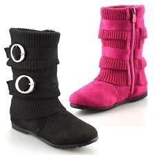 Girls Kids Childrens School Winter Zip Up Casual Biker Mid Calf Boots Shoes Size