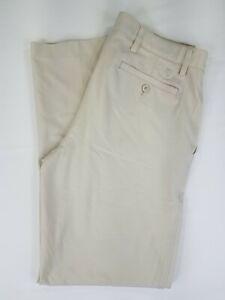 Footjoy FJ Golf Pants Men's Size 33 x 32 Polyester Spandex Flat Front Khaki