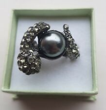 Adjustable Grey Tone Faux Pearl Diamante Ring