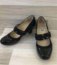 Clarks Wide Fit Alpine Clover Black Patent Leather Court Shoes Size 6 EUR 39.5