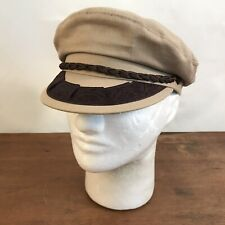 Tan Cotton Greek Fisherman's Cap Newsboy Fiddler Sailor Hat Size 7 1/8 (CH20)