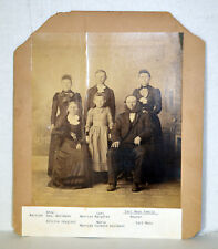 """Large 12"""" Antique Cabinet Photo Immigrant Family With Names Carl Maas Dallmann"""