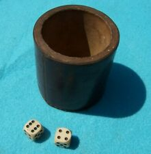ANTIQUE / VINTAGE REAL HIDE LEATHER SHAKER & 2 OLD DICE FOR GAMING IN VGC