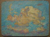 Russian Ukrainian Soviet Oil Painting Impressionism sky cloud reflection sun