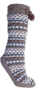 MinxNY Women's Altos Lounge Non-Slip Fuzzy Slipper Socks With Pom Poms Tan M NEW