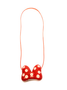 Minnie Mouse LED Light Up Red Bow Necklace Flashing Blinking Christmas Birthday