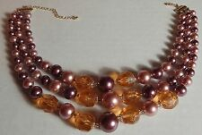 VINTAGE 3-STRAND PLASTIC BEAD NECKLACE MAUVE & FACETED AMBER JAPAN
