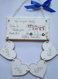 Motorhome Plaque Wooden Family Personalised Hearts Hand Drawn Gift NEW