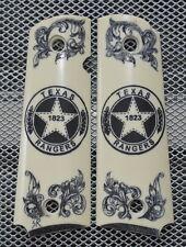 1911/Clones For Kimber/Colt Frames Hand Scrimshawed TEXAS RANGERS 1823 Badge!