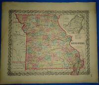 Vintage 1857 MAP ~ MISSOURI ~ Old Antique Original Colton's Atlas Map