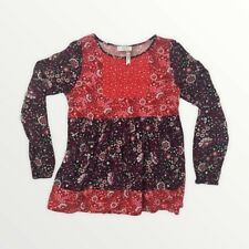Matilda Jane 435 Girls 12 Tunic Top Shirt By The Fireside Top Red Purple Floral