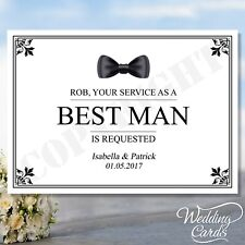 Will you be my Best Man Usher Groomsman Bridesmaid Maid of Honour Flower Girl A6