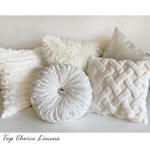 Home Mix & Match Home Decor Sofa Pillow White/Silver/Cream Tones Cushion Cover