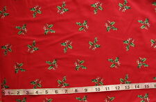 100% Cotton Fabric Christmas Red with Ivy Twigs & Berries, Cranston