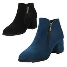 Ladies Chunky Mid Heel Round Toe Back Zip Ankle Boots Casual Winter Warm 34/43 B