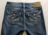 Silver Jeans Suki Surplus Womens Blue Denim Size 26 x 32 Boot Cut Med Wash EUC